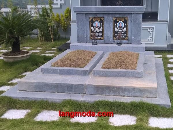 Mộ đôi đá LM 30, thiết kế mộ đôi đẹp cân đối phong thủy